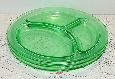 Vintage LE Smith GREEN Uranium Glass 3 Grill Plates Divided Section Depression
