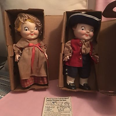 2 Vintage Campbell Kids Colonial Dolls 1976 In Original Boxes USA