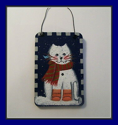 Little Cat Snowman In Boots With Bird - Wooden Christmas Ornament - Painted