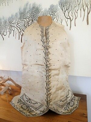 Circa 18Thc. Man'S Waistcoat W/metallic Embroidery,sequins,spangles