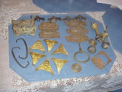 Lot of Vintage Antique Hardware:  Knobs, Handles, Pulls, For Trunks, Chests, Etc