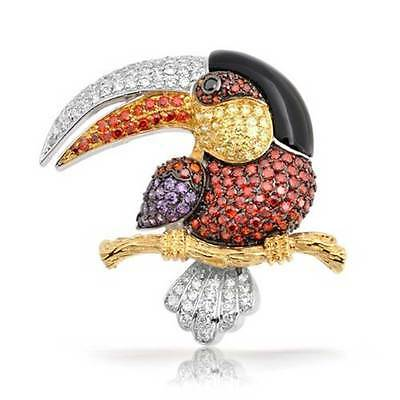 Bling Jewelry Multi Color Pave CZ Gold Plated Tucan Brooch Pin