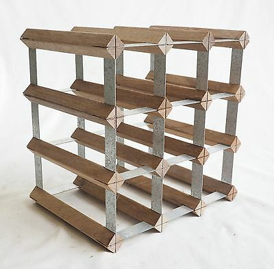 12 Bottle Wine Rack Timber Wood Galvanised Steel Very Good Condition