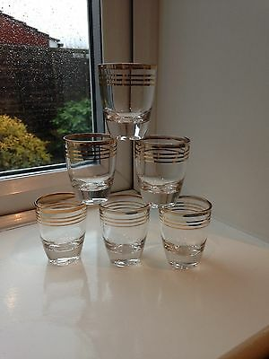 Set of 6 Vintage/Retro French Shot/Liqueur Glasses With Gold Rings