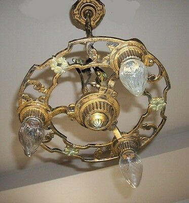 Antique Art Deco 3 light hanging fixture chandelier with original ceiling plate