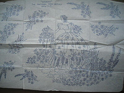 Vintage Embroidery Transfer Woman the National Home Weekly Crinoline Lady Flora