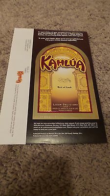 "Kahlua Self Stick Gift Label "" Best of Luck"""