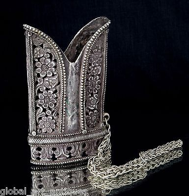 Indo Persian Mughal Islamic Real Silver Sword Scabbard Locket Jali Cut. G10-46