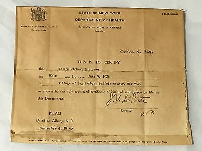 1942 Department Of Health Certificate Shellfish Fish Old Antique Paper Vintage