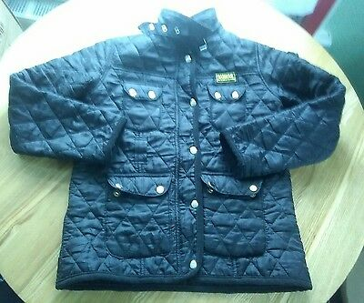 GIRLS Black BARBOUR INTERNATIONAL QUILT COAT JACKET AGE 6/8YEARS HARDLY WORN