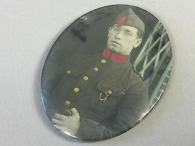 Old Pocket Mirror with Photo of a Soldier