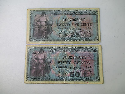 MPC Military Payment Certificates Series 481 - 50 & 25 cents