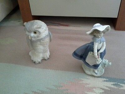 Nao figure of an owl and a lladro girl with flower basket