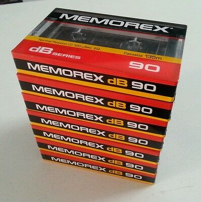 7 Memorex dB 90 Blank Audio Cassette Tapes Brand New & Sealed
