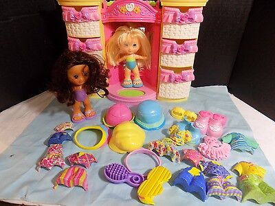 Fisher Price Snap n Style 2 Dolls W/ WARDROBE CLOTHES and SHOES Huge Lot
