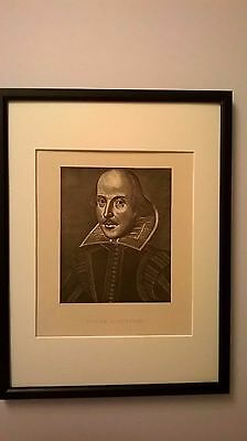 ANTIQUE PRINT ENGRAVING OF SHAKESPEARE, PATON R.S.A c1888 MOUNT & FRAMED