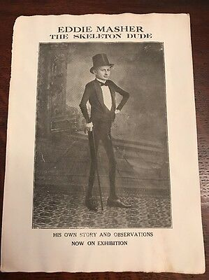 Early 1900s Eddie Masher Skeleton Dude Circus Sideshow Freak Pamphlet Flyer