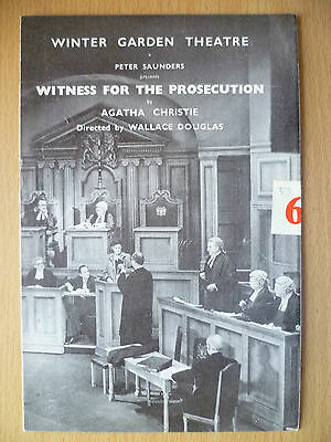WINTER GARDEN THEATRE 1953- WITNESS FOR THE PROSECUTION by AGATHA CHRISTIE