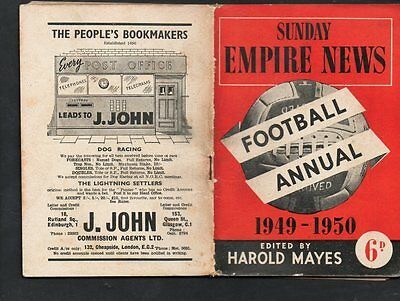 SUNDAY EMPIRE NEWS FOOTBALL ANNUAL  1949-50 FIXTURES+ Advertisments
