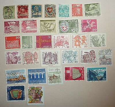 31 stamps of Switzerland 1899-1986. Used.