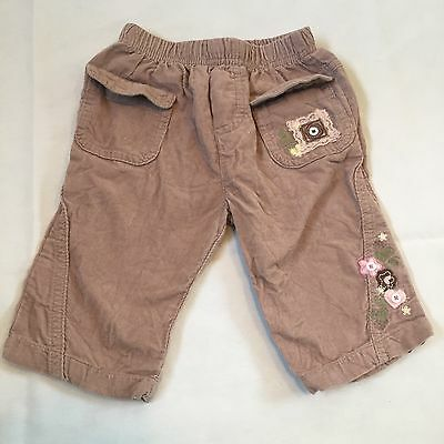 Brown Corduroy Lace Floral Detail Trousers Baby Girls 3-6 Months