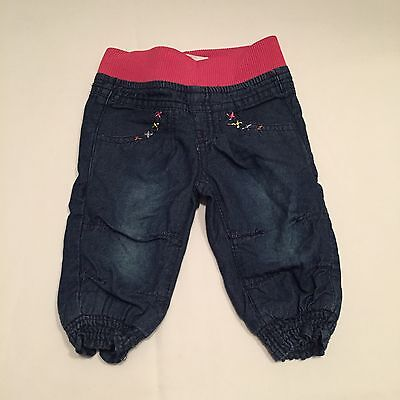 Dark Blue Denim Jeans With Pink Stretchy Waist Trousers Baby Girls 0-3 Months