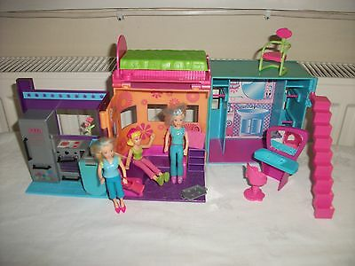 Two Polly Pocket Original Dressed Dolls Sparkle House + Accessories 2002 age 4+