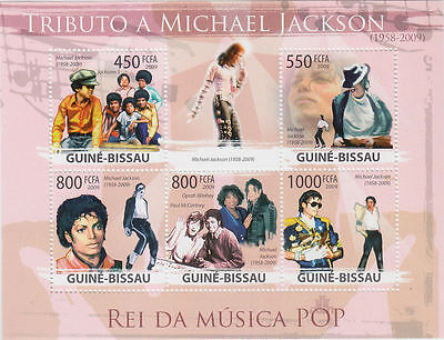 Michael Jackson Timbre Feuillet Lot Timbres GUINEA-BISSAU Stamp Stamps Set 2009