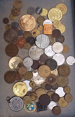 Job Lot. Collection Of At Least 75 X Medallion, Token, Coin, Medal. Bulk Lot.