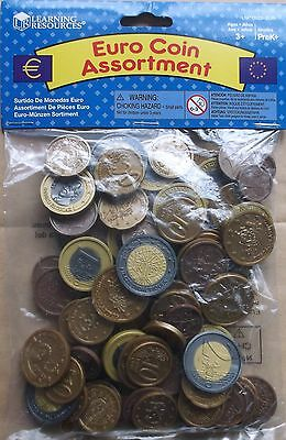 NEW maths school Learning Resource -  SET OF 100 plastic EURO COINS / play money