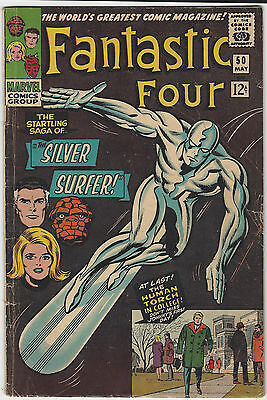 Fantastic Four #50 - Silver Surfer/Galactus Trilogy - Marvel May 1966 - G/VG