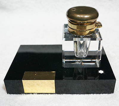 Vtg Desk INK WELL for MONTBLANC Fountain Pen - CRYSTAL BROKEN, Parts or Repair