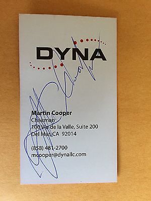 MARTIN COOPER autograph INVENTOR of 1st mobile phone business card signed