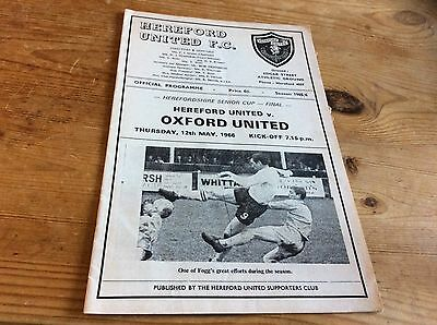 Herefordshire Senior Cup Final. Hereford V Oxford United. 12/5/1966