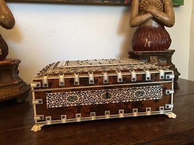 Antique FINE QUALITY ANGLO INDIAN IVORY & TORTOISESHELL BOX