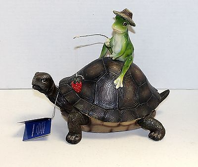 New Turtle With Frog Riding It  in The Box - Lake, Cabin Lodge  Decor