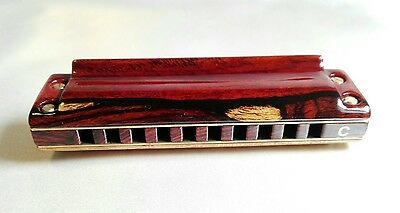 Harmónica custom  covers Cocobolo of Nicaragua . Marine band deluxe crossover, C
