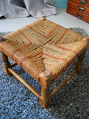 EARLY 20TH CENTURY SOLID OAK FOOT STOOL With RUSHED / WICKER SEAT