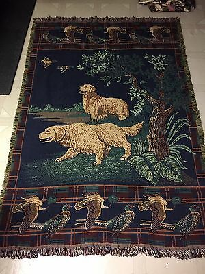"Golden Retriever Hunting Tapestry Throw Blanket Afghan~48"" x 64"""