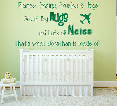 Personalised Name, Planes, trains & toys, Vinyl Wall Art Sticker, Decal, Boys