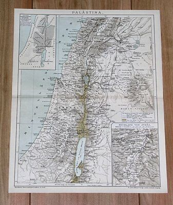 1900 Original Antique Map Of Palestine Israel Holy Land Tribes Jerusalem Lebanon