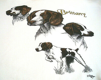 "Brittany Spaniel T-shirt  "" White  "" Large ( 42 - 44 )"