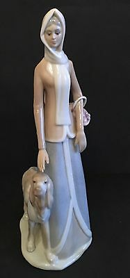 TALL TENGRA LADY WITH DOG. 38cm High. Perfect