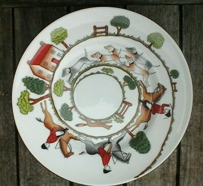 Crown staffordshire hunting scene fine bone china tea plate/side plate.