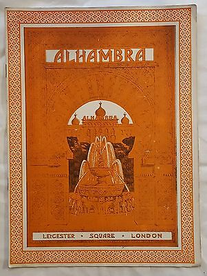 Vintage ALHAMBRA London Leicester Square Aug 26, 1929 Variety Theatre Programme