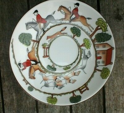 Crown staffordshire hunting scene fine bone china tea cup saucer.