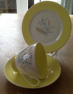Vintage Trio in pale Yellow by Queen Anne in Pattern. Glade'g Condition
