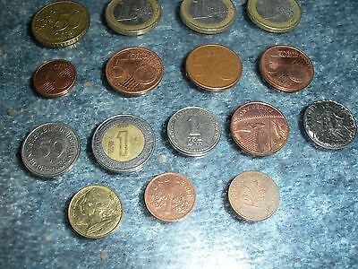 Lot of 16 Foreign Coins 8 Euro, and others