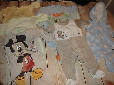 Baby sleepsuits x6 and snowsuit 0-3 months