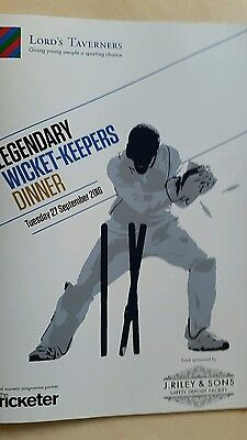 """Lord""""s Taverners Legendary Wicket- Keepers Dinner Souvenir Brochure"""